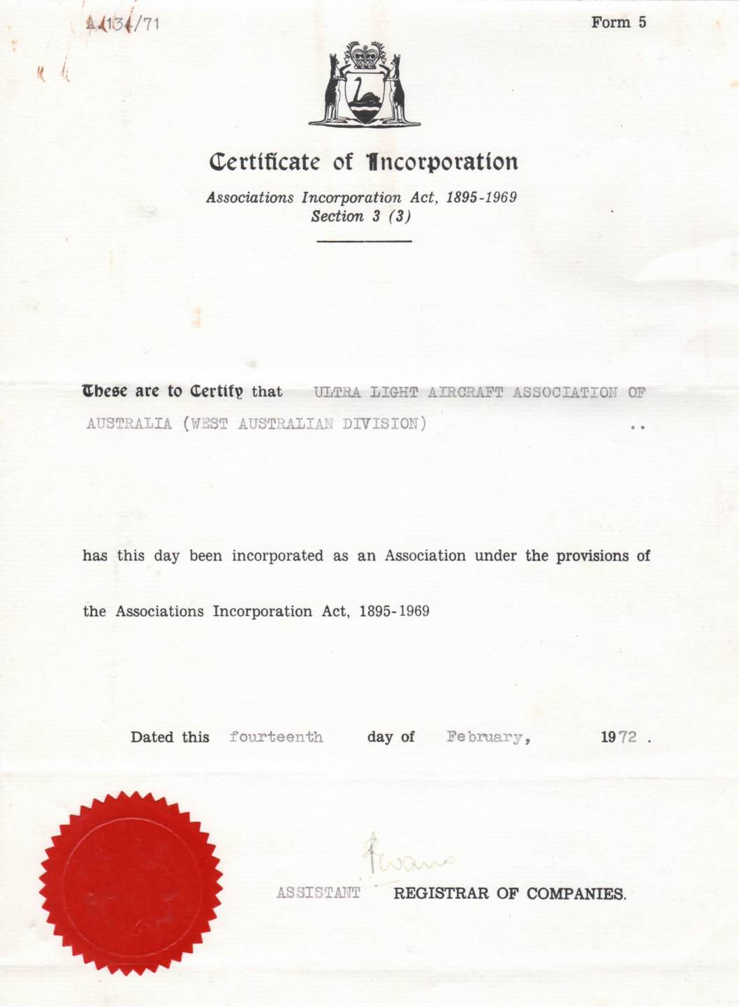 1972 cert of incorporation